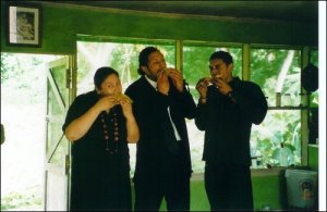 Leini, Miki & Krit Eating Off Dad's Crops