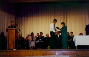 Being Presented With The Chancellor's Award For Top Scholars @ Viard College 2002
