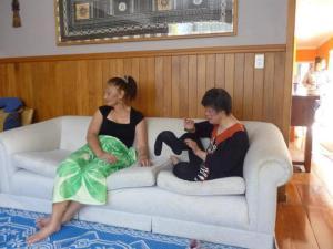 Mum & Aunty Ria Wearing Krit's Sock