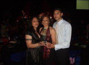 Desley, Mum & Krit Holding Uncle Pekelo's Samoa Sports Award